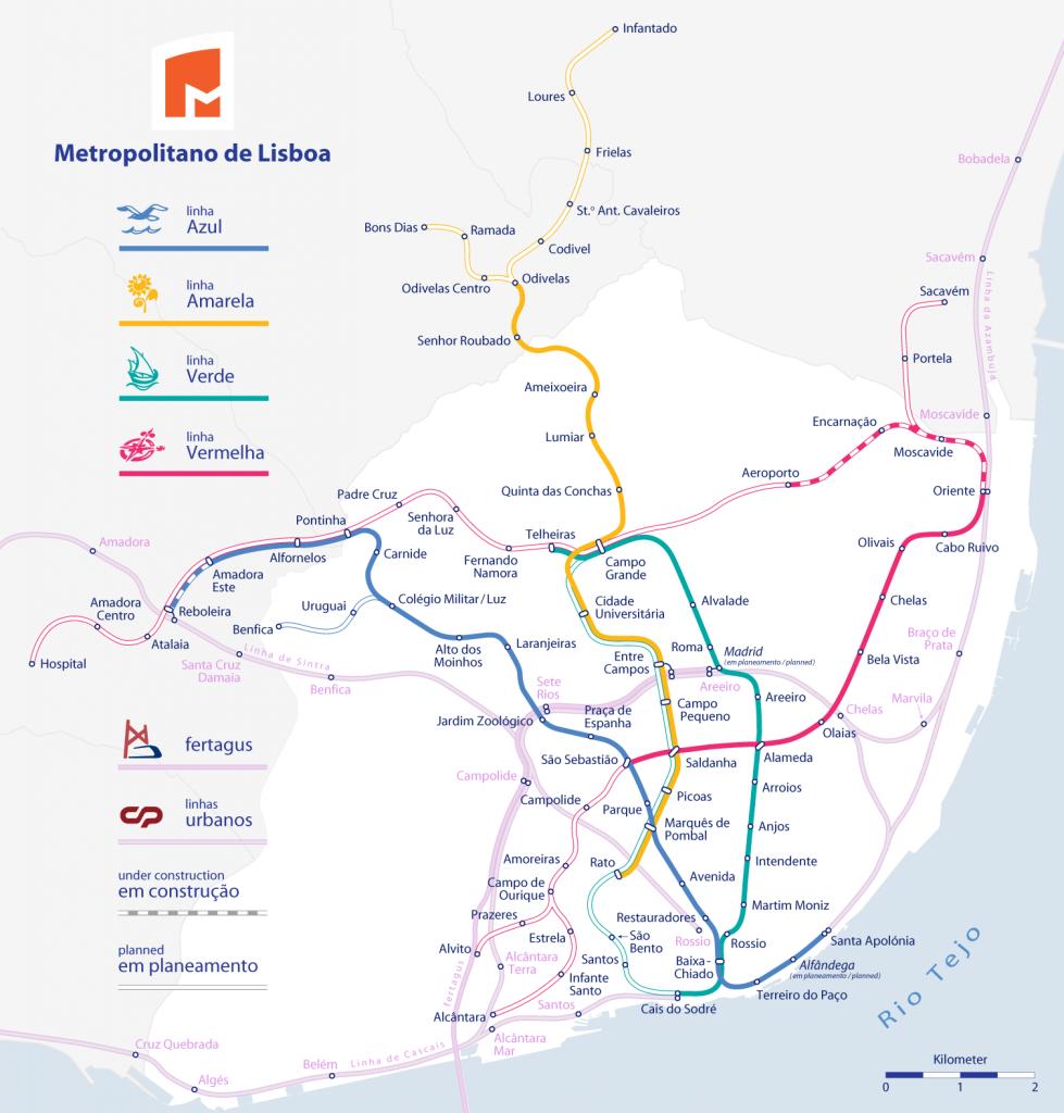 komunikacja w lizbonie - metro lizbona mapa