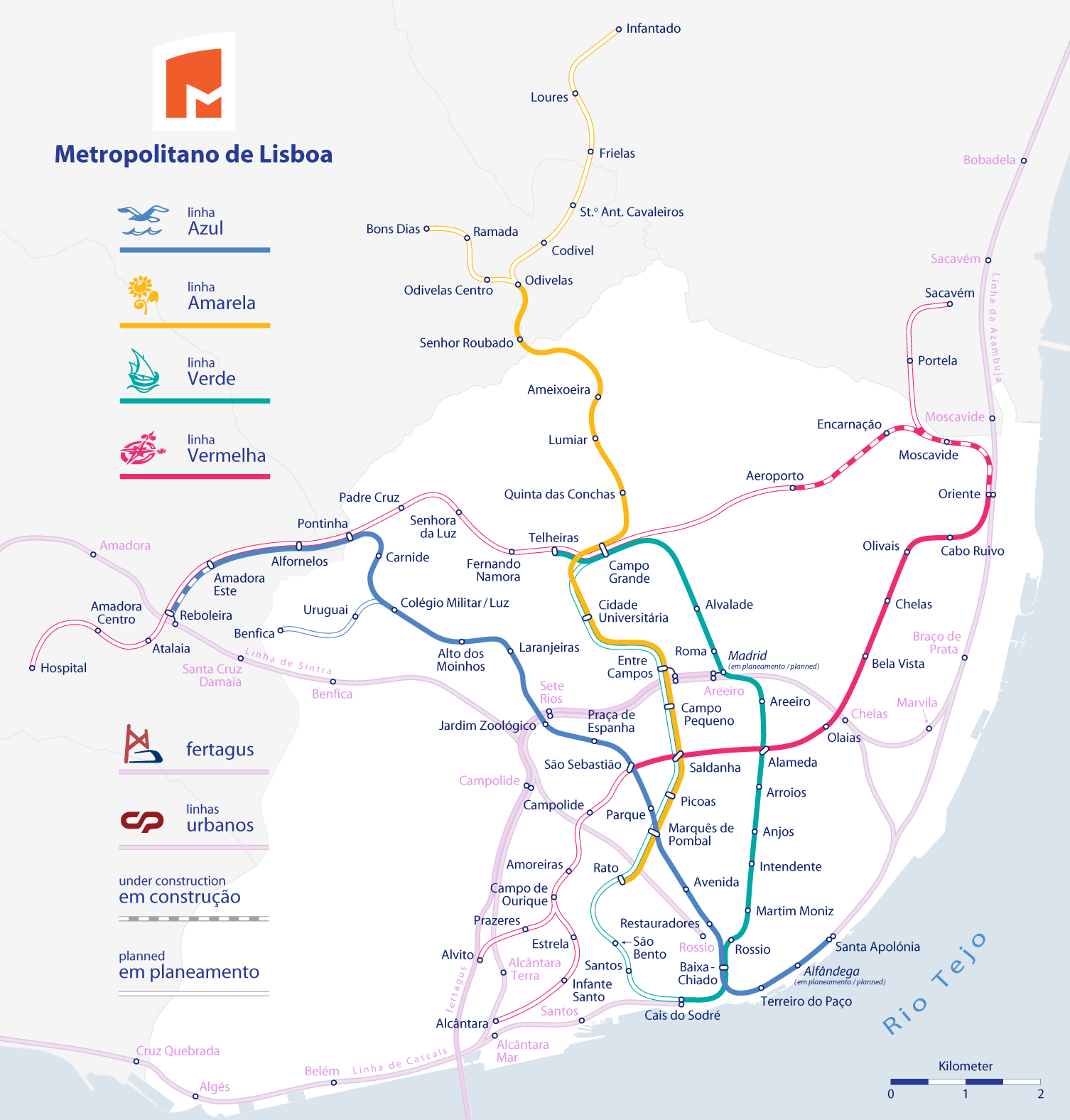 mapa metro lizbona