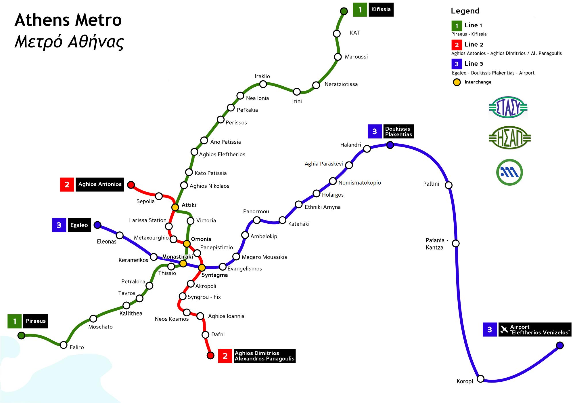 Komunikacja w Atenach - mapa metro Ateny