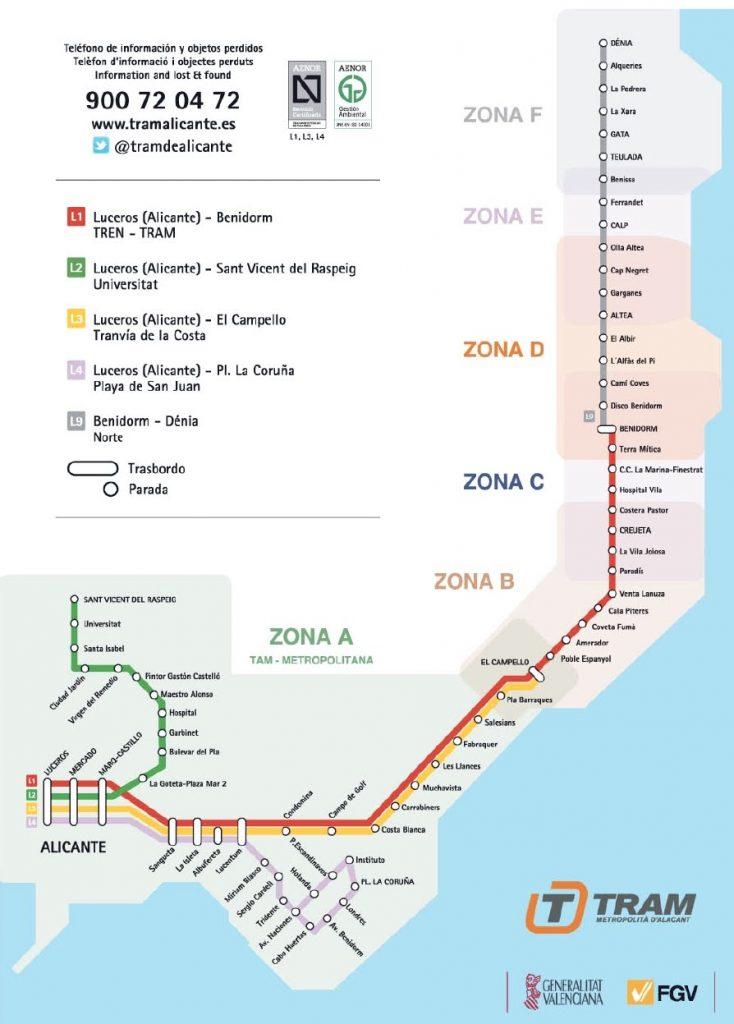Mapa linii tramwajowej w Alicante